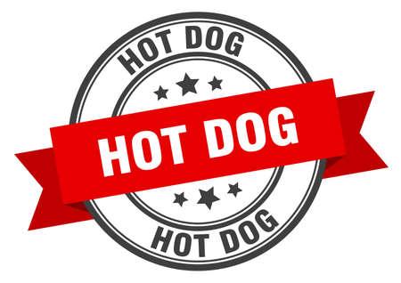 hot dog label. hot dog red band sign. hot dog Ilustrace