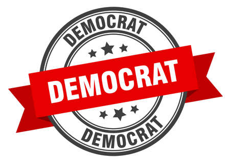 democrat label. democrat red band sign. democrat