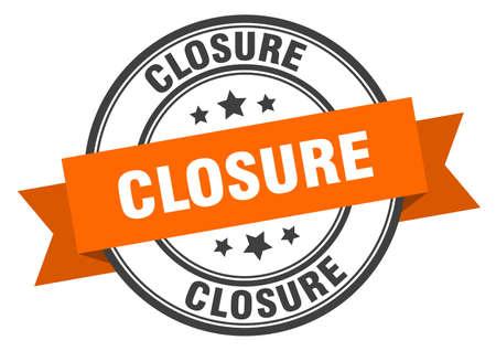 closure label. closure orange band sign. closure