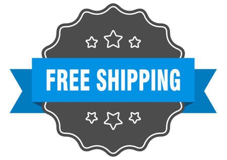 free shipping blue label. free shipping isolated seal. free shipping