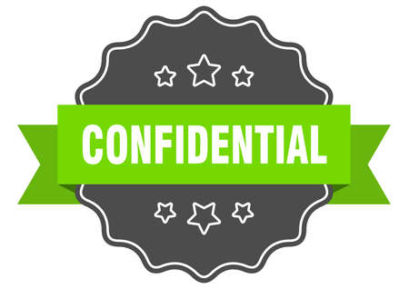 confidential isolated seal. confidential green label. confidential