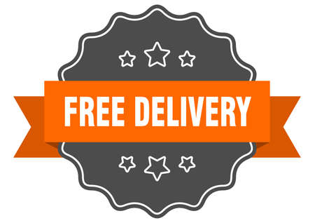free delivery isolated seal. free delivery orange label. free delivery