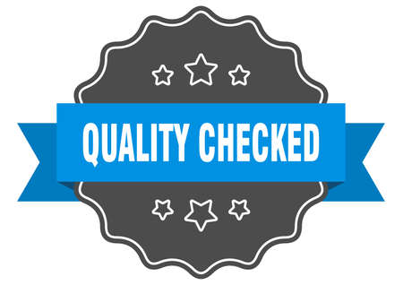 quality checked blue label. quality checked isolated seal. quality checked Ilustrace