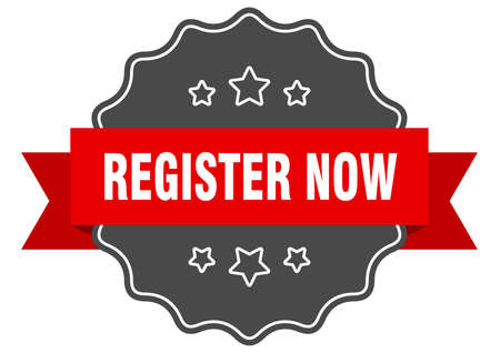 register now red label. register now isolated seal. register now