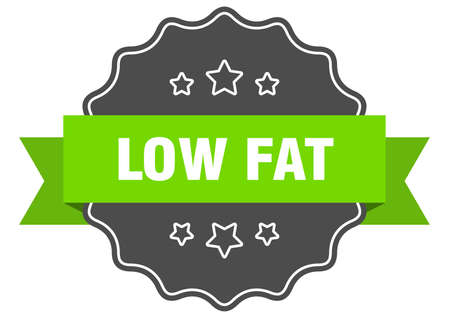 low fat isolated seal. low fat green label. low fat