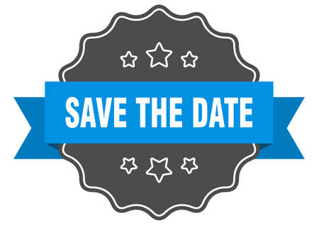 save the date blue label. save the date isolated seal. save the date