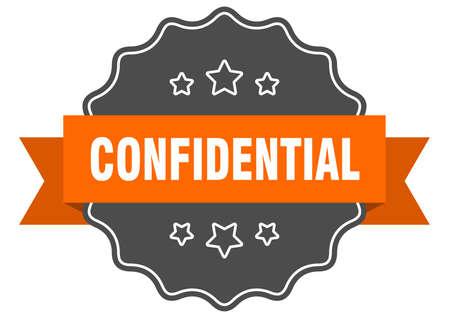 confidential isolated seal. confidential orange label. confidential Иллюстрация