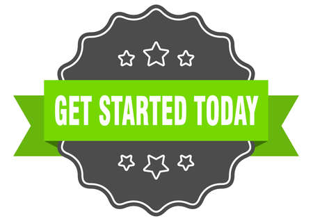 get started today isolated seal. get started today green label. get started today Vecteurs