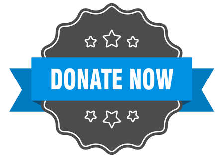 donate now blue label. donate now isolated seal. donate now