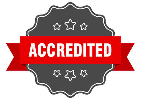 accredited red label. accredited isolated seal. accredited