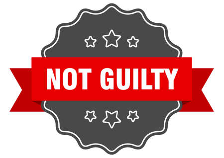 not guilty red label. not guilty isolated seal. not guilty