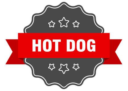 hot dog red label. hot dog isolated seal. hot dog