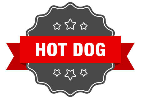 hot dog red label. hot dog isolated seal. hot dog