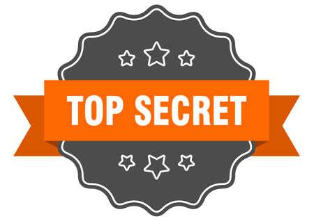 top secret isolated seal. top secret orange label. top secret