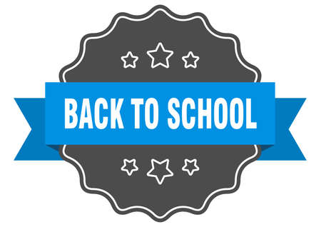 back to school blue label. back to school isolated seal. back to school