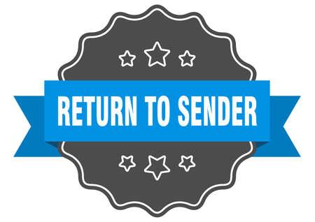 return to sender blue label. return to sender isolated seal. return to sender Stock Illustratie
