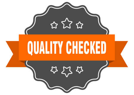 quality checked isolated seal. quality checked orange label. quality checked