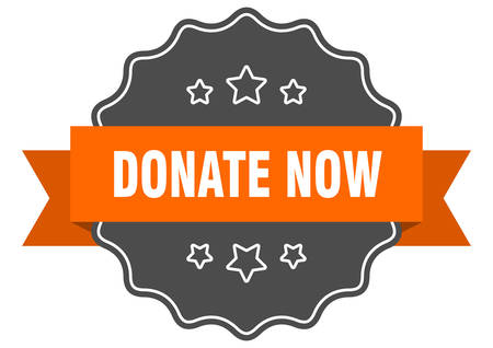 donate now isolated seal. donate now orange label. donate now