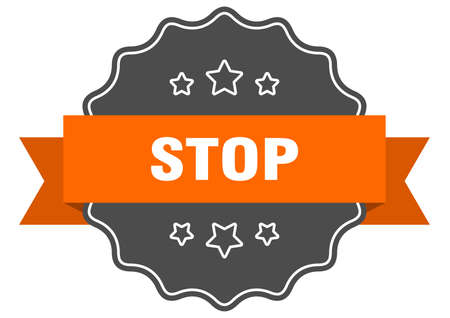 stop isolated seal. stop orange label. stop
