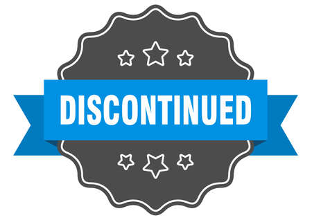 discontinued blue label. discontinued isolated seal. discontinued