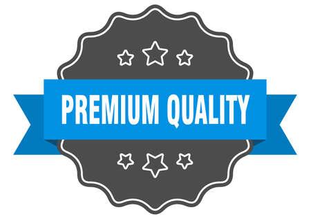 premium quality blue label. premium quality isolated seal. premium quality