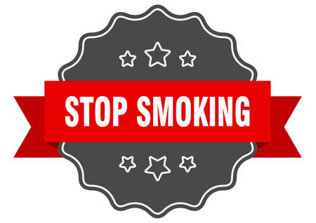 stop smoking red label. stop smoking isolated seal. stop smoking Иллюстрация