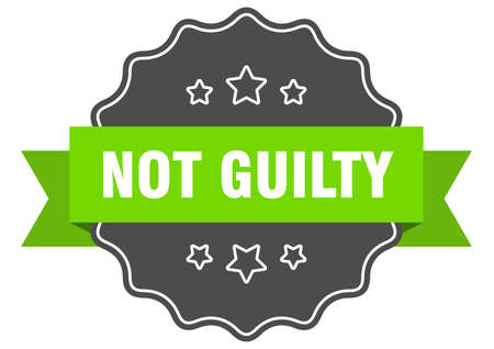 not guilty isolated seal. not guilty green label. not guilty