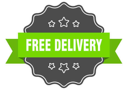 free delivery isolated seal. free delivery green label. free delivery