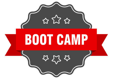 boot camp red label. boot camp isolated seal. boot camp Çizim