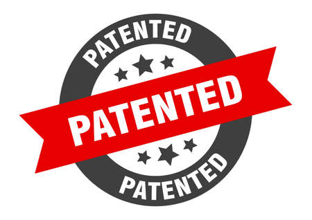 patented sign. patented black-red round ribbon sticker Vectores