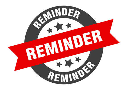 reminder sign. reminder black-red round ribbon sticker