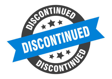 discontinued sign. discontinued blue-black round ribbon sticker