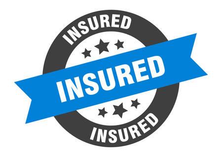 insured sign. insured blue-black round ribbon sticker