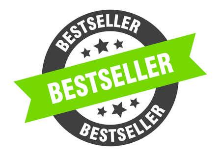 bestseller sign. bestseller black-green round ribbon sticker