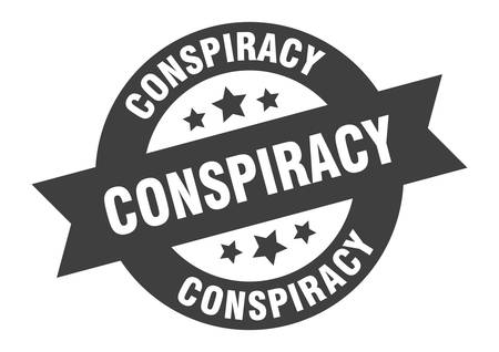 conspiracy sign. conspiracy black round ribbon sticker Vectores