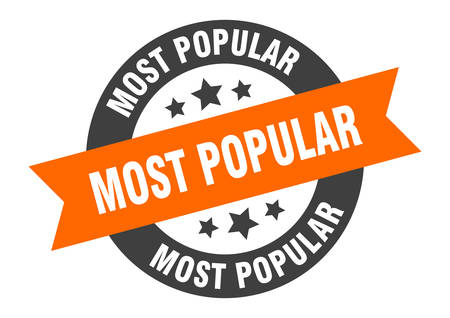most popular sign. most popular orange-black round ribbon sticker