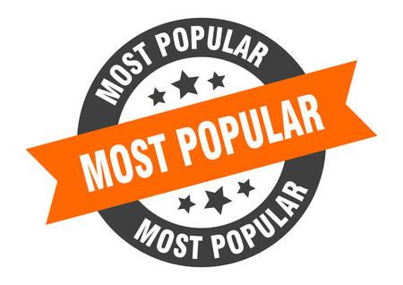 most popular sign. most popular orange-black round ribbon sticker