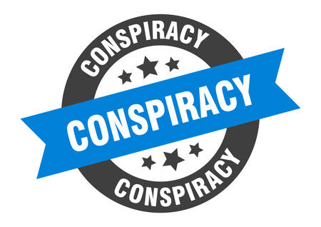 conspiracy sign. conspiracy blue-black round ribbon sticker