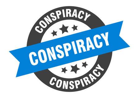 conspiracy sign. conspiracy blue-black round ribbon sticker