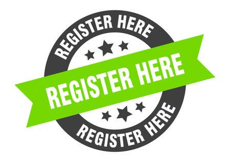 register here sign. register here black-green round ribbon sticker Иллюстрация
