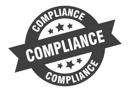 compliance sign. compliance black round ribbon sticker Illusztráció