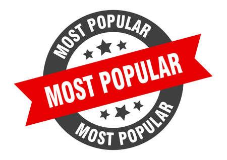 most popular sign. most popular black-red round ribbon sticker