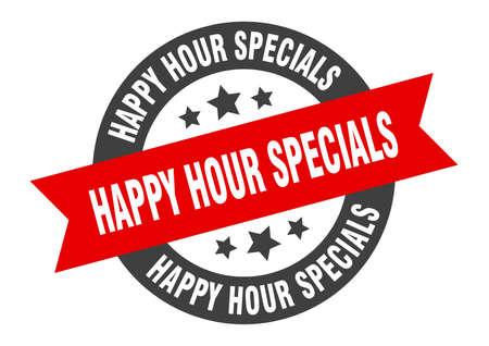 happy hour specials sign. happy hour specials black-red round ribbon sticker