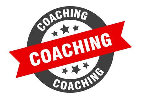 coaching sign. coaching black-red round ribbon sticker