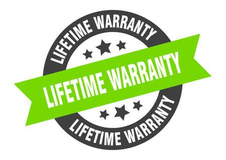 lifetime warranty sign. lifetime warranty black-green round ribbon sticker Illustration