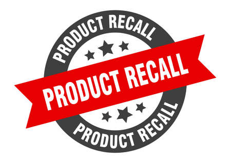 product recall sign. product recall black-red round ribbon sticker