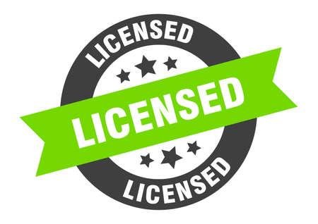 licensed sign. licensed black-green round ribbon sticker Illustration