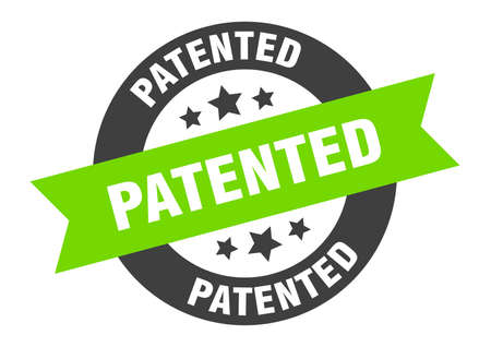 patented sign. patented black-green round ribbon sticker