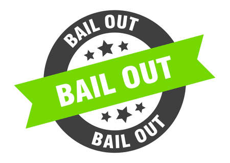 bail out sign. bail out black-green round ribbon sticker Vectores