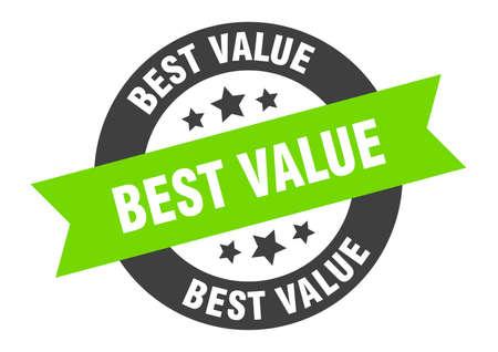 best value sign. best value black-green round ribbon sticker
